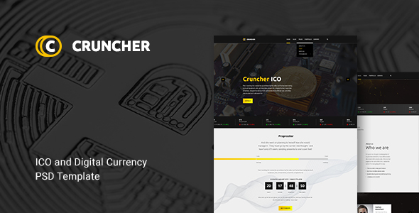 Cruncher -  ICO and Cryptocurrency PSD Template