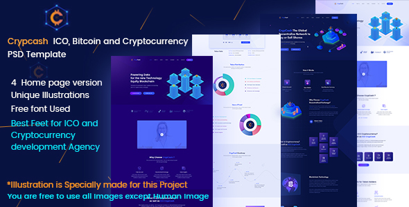 Crypcash - ICO, Bitcoin and Cryptocurrency Landing Page