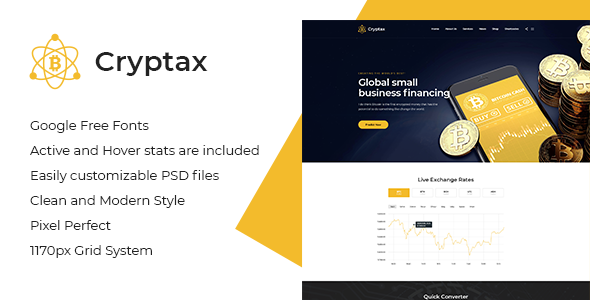 Cryptax - Cryptocurrency PSD Template