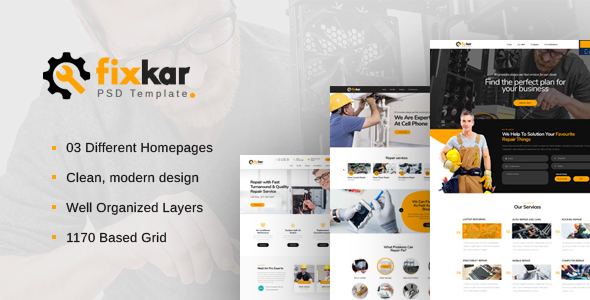 FixKar - A PSD Template for Services and Repairing Business