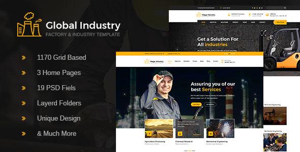 Global Industry- Industrial, Engineering & Factory PSD Template