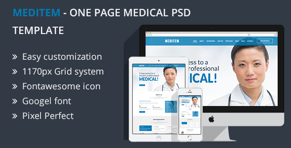 MEDITEM - One Page Health and Medical PSD Template