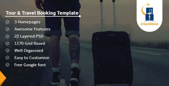TraveLove - Tour and Travel Booking Agency PSD Template