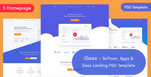 iSaas -Software, App, Saas Landing PSD Template