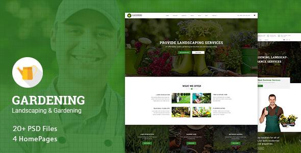 Gardening - Landscaping & Gardening PSD Template