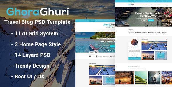 GhoraGhuri - Travel Blog Psd Template