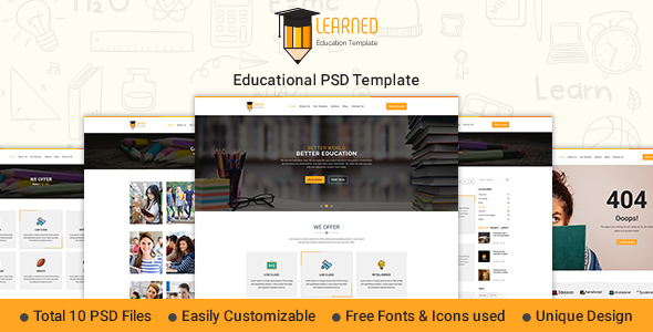 Learned - Education PSD Template