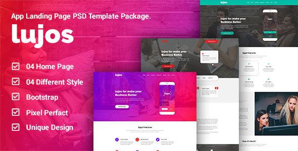 Lugos - App Landing Page PSD Package