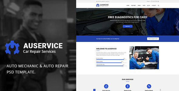 Auto Mechanic  U0026 Auto Repair Psd Template