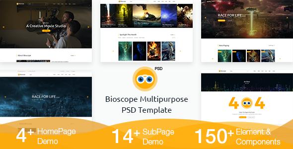 Bioscope - Movie/Film/Cinema/TV/Agency PSD Template