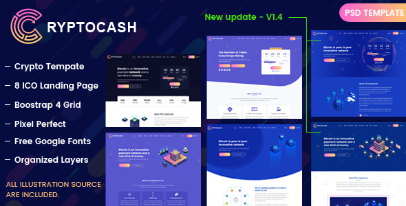 Cryptocash - ICO & Cryptocurrency Landing Page PSD Template