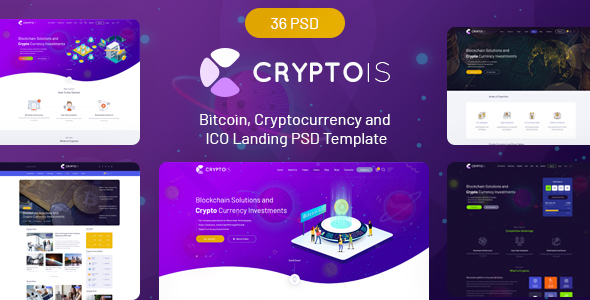 Cryptois - Bitcoin, Cryptocurrency and ICO Landing PSD Template