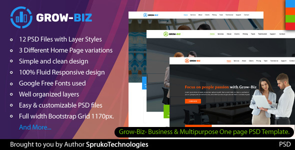 Grow-Biz- Business & Multipurpose One page PSD Template