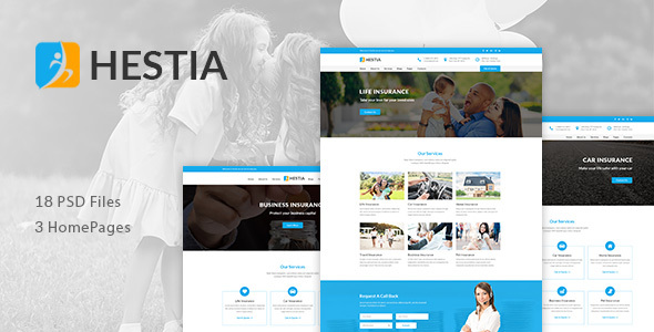 Hestia - Insurance Agency & Business PSD Template