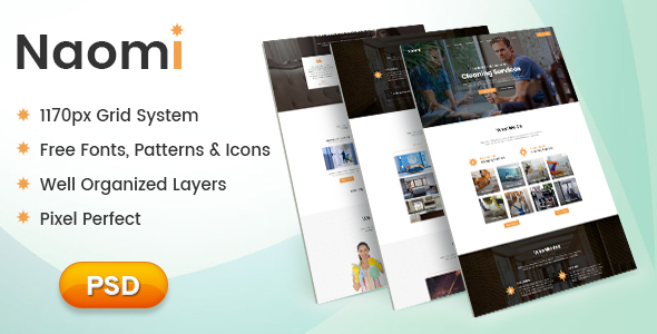 Naomi - One Page PSD Template for Cleaning Services