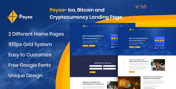 Poysa  - Bitcoin and Cryptocurrency PSD Template