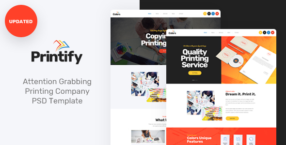 Printify - Attention Grabbing Printing Company PSD Template