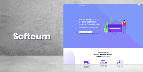 Softeum - Software, App & Product Showcase Landing PSD Design