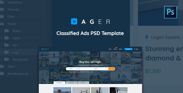 Ager - Classified Ads PSD Template