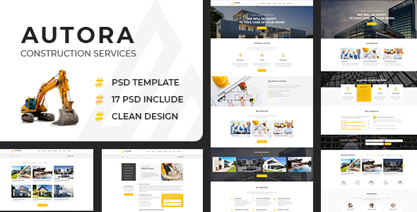Autora - Construction Business PSD Template