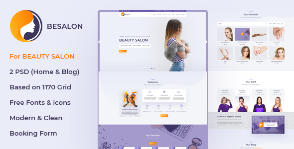 Besalon | Beauty Salon One Page PSD Template