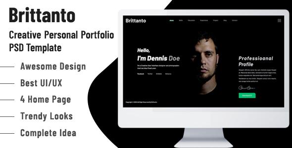 Brittanto - Creative Personal Portfolio PSD Template
