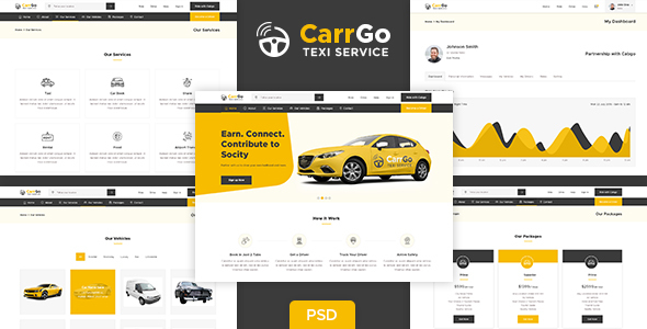 CarrGo - Ridesharing Taxi Psd Template
