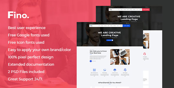 Fino - Finance & Consulting Business PSD Landing Page
