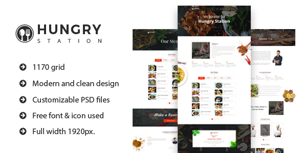 Hungry Station - Restaurant Website PSD Template