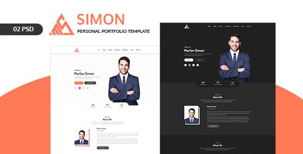 Simon -  Personal Portfolio Landing Page PSD Template
