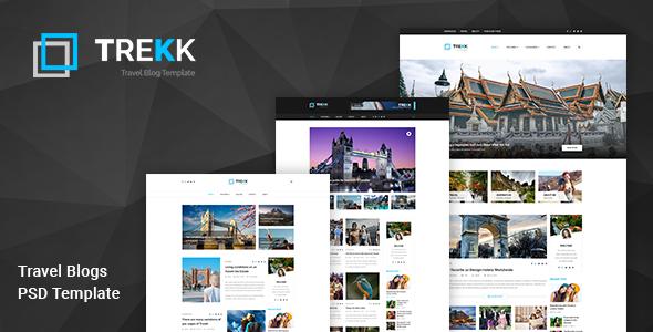 Trekk: Travel  and Magazine Blog PSD Template