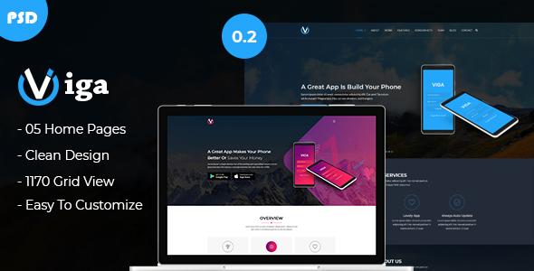 Viga - Mobile App Landing Page PSD Template
