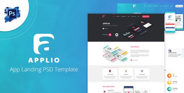 Applio - App Landing PSD Template