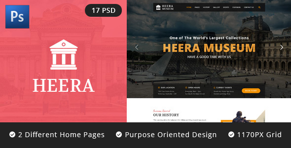 HEERA: Museum and Exhibition PSD website template