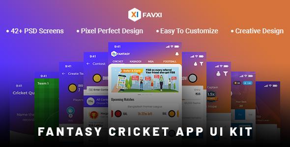 FavXI - Fantasy Sports App PSD Template