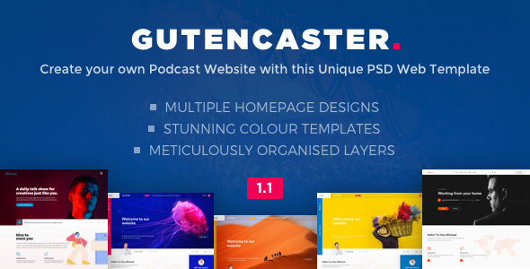 Gutencaster - Podcasting Website PSD Templates