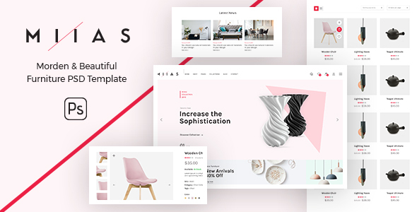 MIIAS - Modern & Beautiful Furniture Store PSD Template