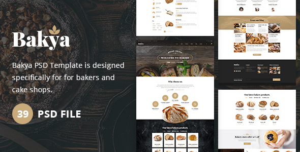 Bakya - Cake and Bakery Food Store Psd Template Theme