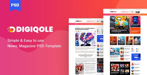 Digiqole - News Magazine PSD Template
