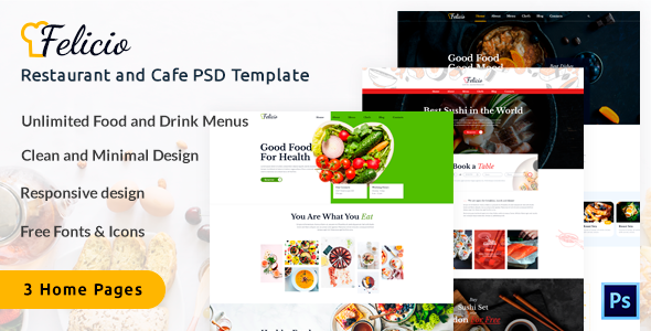Felicio - Restaurant and Cafe PSD Template