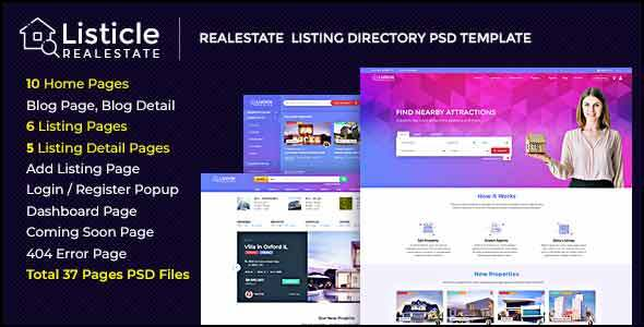 Listicle - RealEstate Listing PSD Template