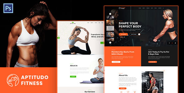 Aptitudo Fitness - Gym, Yoga & Fitness PSD Template