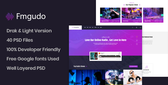 Fmgudo - Online Live Radio PSD Template