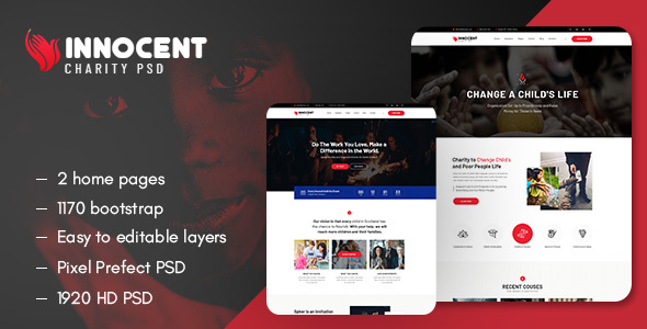 Innocent - Nonprofits Charity PSD Template
