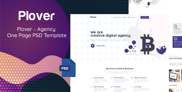 Plover - Agency One Page PSD Template