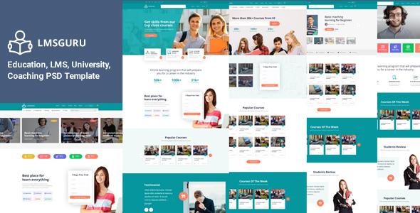 LMSGURU – LMS Education PSD Template