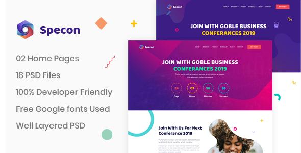 Specon - Conference & Seminar PSD Template