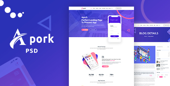 Apork - Product Landing PSD Template