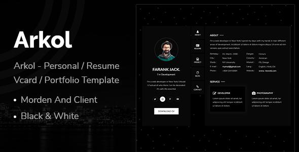 Arkol - Personal Resume Vcard Portfolio Template