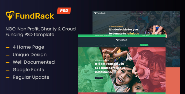 FundRack - Charity PSD Template